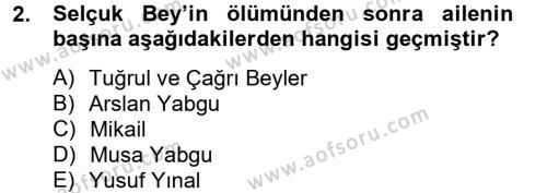 Büyük Selçuklu Tarihi Dersi 2012 - 2013 Yılı Ara Sınavı 2. Soru