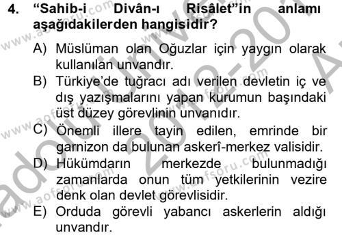 Büyük Selçuklu Tarihi Dersi 2012 - 2013 Yılı Ara Sınavı 4. Soru