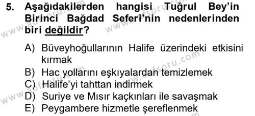 Tarih Bölümü 2. Yarıyıl Büyük Selçuklu Tarihi Dersi 2013 Yılı Bahar Dönemi Ara Sınavı 5. Soru