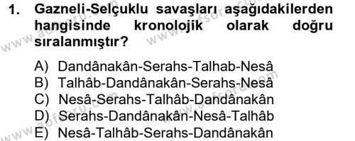 Büyük Selçuklu Tarihi Dersi 2012 - 2013 Yılı Dönem Sonu Sınavı 1. Soru