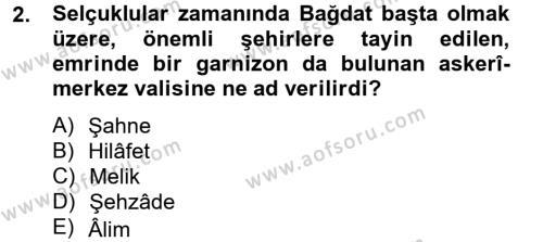 Büyük Selçuklu Tarihi Dersi 2012 - 2013 Yılı Dönem Sonu Sınavı 2. Soru