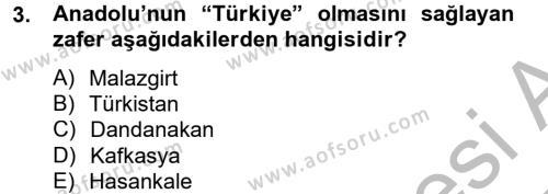 Büyük Selçuklu Tarihi Dersi 2012 - 2013 Yılı Dönem Sonu Sınavı 3. Soru