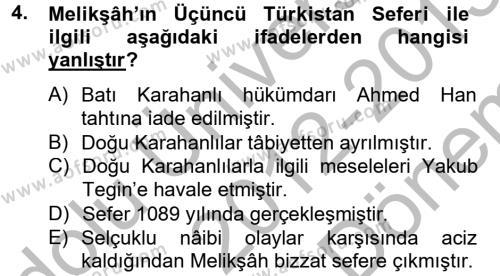 Büyük Selçuklu Tarihi Dersi 2012 - 2013 Yılı Dönem Sonu Sınavı 4. Soru
