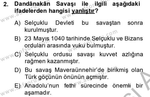 Büyük Selçuklu Tarihi Dersi 2013 - 2014 Yılı Ara Sınavı 2. Soru
