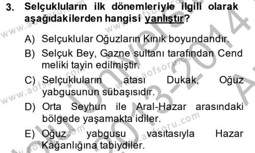 Büyük Selçuklu Tarihi Dersi 2013 - 2014 Yılı Ara Sınavı 3. Soru