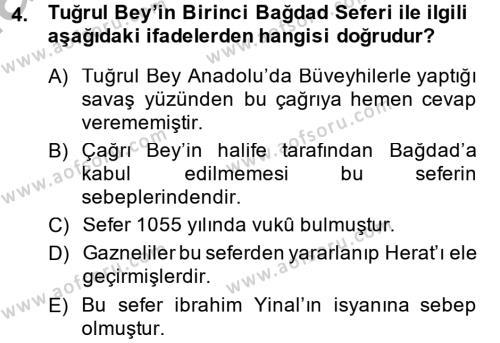 Büyük Selçuklu Tarihi Dersi 2013 - 2014 Yılı Ara Sınavı 4. Soru
