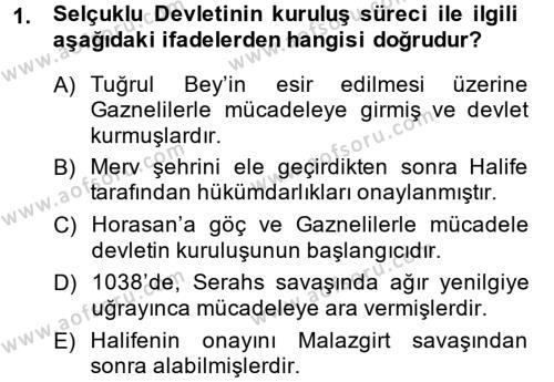 Büyük Selçuklu Tarihi Dersi 2013 - 2014 Yılı Dönem Sonu Sınavı 1. Soru
