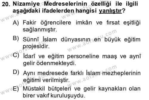 Büyük Selçuklu Tarihi Dersi 2013 - 2014 Yılı (Final) Dönem Sonu Sınavı 20. Soru