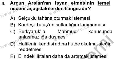 Tarih Bölümü 2. Yarıyıl Büyük Selçuklu Tarihi Dersi 2014 Yılı Bahar Dönemi Dönem Sonu Sınavı 4. Soru