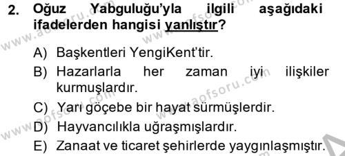 Büyük Selçuklu Tarihi Dersi 2014 - 2015 Yılı Ara Sınavı 2. Soru