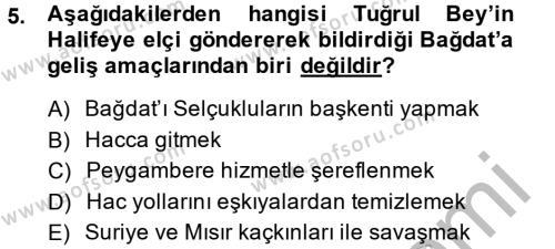 Tarih Bölümü 2. Yarıyıl Büyük Selçuklu Tarihi Dersi 2015 Yılı Bahar Dönemi Ara Sınavı 5. Soru