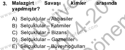 Tarih Bölümü 2. Yarıyıl Büyük Selçuklu Tarihi Dersi 2015 Yılı Bahar Dönemi Dönem Sonu Sınavı 3. Soru