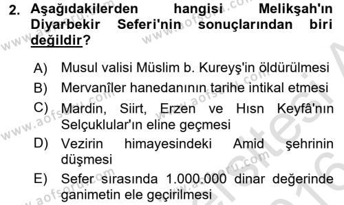 Büyük Selçuklu Tarihi Dersi 2015 - 2016 Yılı (Final) Dönem Sonu Sınav Soruları 2. Soru