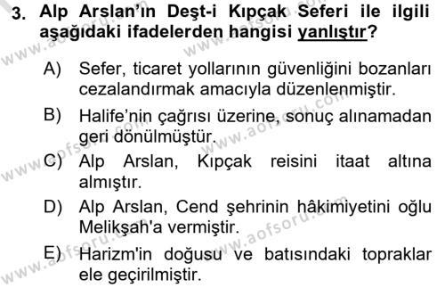 Büyük Selçuklu Tarihi Dersi 2015 - 2016 Yılı (Final) Dönem Sonu Sınav Soruları 3. Soru