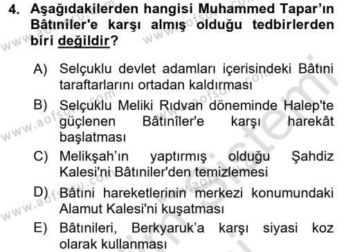 Büyük Selçuklu Tarihi Dersi 2015 - 2016 Yılı (Final) Dönem Sonu Sınav Soruları 4. Soru