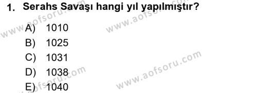 Büyük Selçuklu Tarihi Dersi 2016 - 2017 Yılı Ara Sınavı 1. Soru