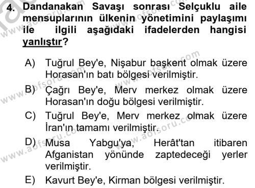 Büyük Selçuklu Tarihi Dersi 2016 - 2017 Yılı Ara Sınavı 4. Soru