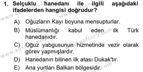 Büyük Selçuklu Tarihi Dersi 2016 - 2017 Yılı (Final) Dönem Sonu Sınav Soruları 1. Soru