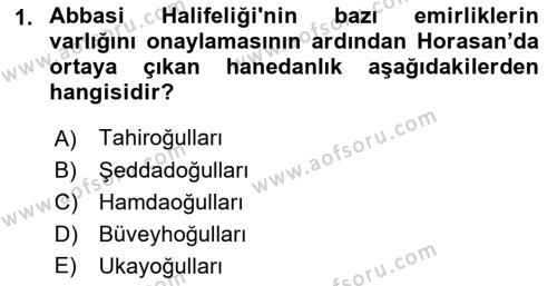 Büyük Selçuklu Tarihi Dersi 2017 - 2018 Yılı (Vize) Ara Sınav Soruları 1. Soru