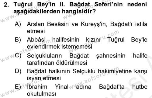 Büyük Selçuklu Tarihi Dersi 2017 - 2018 Yılı (Vize) Ara Sınav Soruları 2. Soru