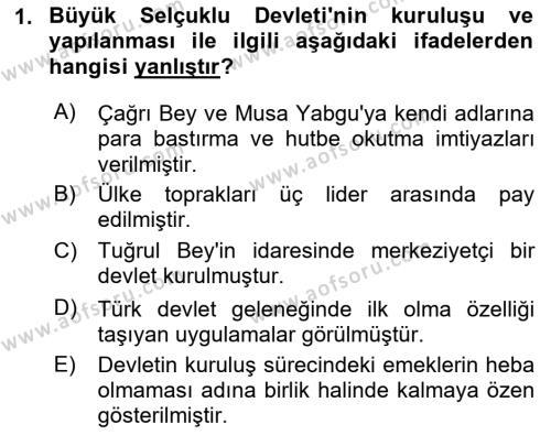 Büyük Selçuklu Tarihi Dersi 2018 - 2019 Yılı (Vize) Ara Sınav Soruları 1. Soru