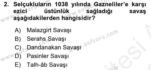 Büyük Selçuklu Tarihi Dersi 2018 - 2019 Yılı (Vize) Ara Sınav Soruları 2. Soru