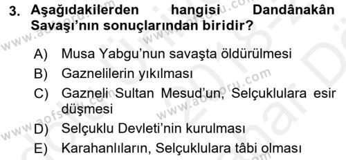Büyük Selçuklu Tarihi Dersi 2018 - 2019 Yılı (Vize) Ara Sınav Soruları 3. Soru