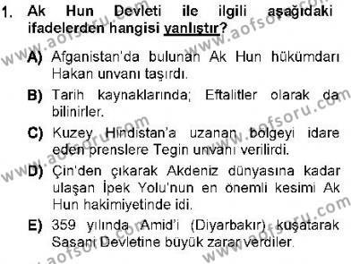 Orta Asya Türk Tarihi Dersi 2012 - 2013 Yılı Ara Sınavı 1. Soru