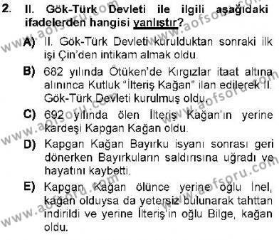 Tarih Bölümü 1. Yarıyıl Orta Asya Türk Tarihi Dersi 2013 Yılı Güz Dönemi Ara Sınavı 2. Soru