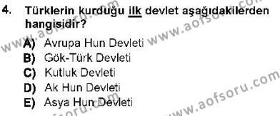 Orta Asya Türk Tarihi Dersi 2012 - 2013 Yılı Ara Sınavı 4. Soru