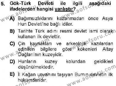 Tarih Bölümü 1. Yarıyıl Orta Asya Türk Tarihi Dersi 2013 Yılı Güz Dönemi Ara Sınavı 5. Soru