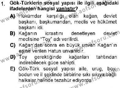 Tarih Bölümü 1. Yarıyıl Orta Asya Türk Tarihi Dersi 2013 Yılı Güz Dönemi Dönem Sonu Sınavı 1. Soru