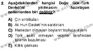 Tarih Bölümü 1. Yarıyıl Orta Asya Türk Tarihi Dersi 2014 Yılı Güz Dönemi Ara Sınavı 2. Soru