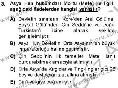 Orta Asya Türk Tarihi Dersi 2013 - 2014 Yılı Ara Sınavı 3. Soru