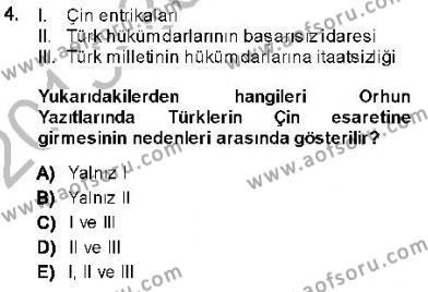 Tarih Bölümü 1. Yarıyıl Orta Asya Türk Tarihi Dersi 2014 Yılı Güz Dönemi Ara Sınavı 4. Soru