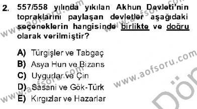 Tarih Bölümü 1. Yarıyıl Orta Asya Türk Tarihi Dersi 2014 Yılı Güz Dönemi Dönem Sonu Sınavı 2. Soru