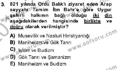 Orta Asya Türk Tarihi Dersi 2013 - 2014 Yılı Dönem Sonu Sınavı 3. Soru