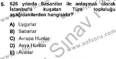 Tarih Bölümü 1. Yarıyıl Orta Asya Türk Tarihi Dersi 2014 Yılı Güz Dönemi Dönem Sonu Sınavı 5. Soru