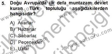 Tarih Bölümü 1. Yarıyıl Orta Asya Türk Tarihi Dersi 2015 Yılı Güz Dönemi Dönem Sonu Sınavı 5. Soru