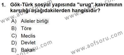 Tarih Bölümü 1. Yarıyıl Orta Asya Türk Tarihi Dersi 2016 Yılı Güz Dönemi Ara Sınavı 1. Soru