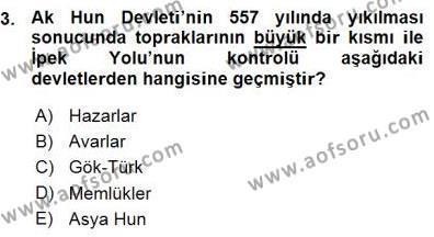 Tarih Bölümü 1. Yarıyıl Orta Asya Türk Tarihi Dersi 2016 Yılı Güz Dönemi Ara Sınavı 3. Soru