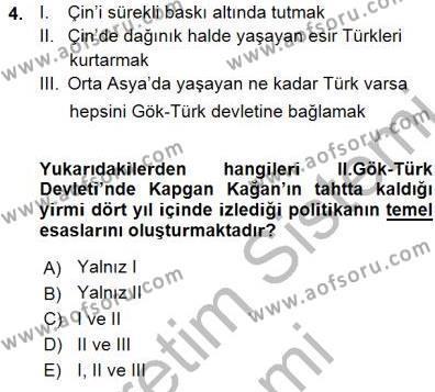 Tarih Bölümü 1. Yarıyıl Orta Asya Türk Tarihi Dersi 2016 Yılı Güz Dönemi Ara Sınavı 4. Soru