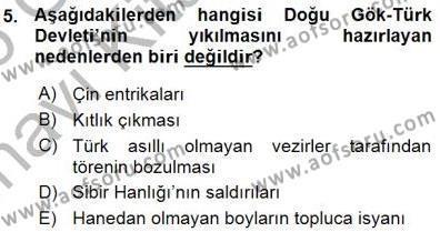 Tarih Bölümü 1. Yarıyıl Orta Asya Türk Tarihi Dersi 2016 Yılı Güz Dönemi Ara Sınavı 5. Soru