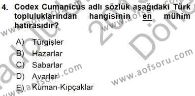 Tarih Bölümü 1. Yarıyıl Orta Asya Türk Tarihi Dersi 2016 Yılı Güz Dönemi Dönem Sonu Sınavı 4. Soru