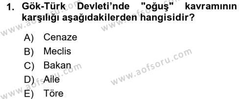 Orta Asya Türk Tarihi Dersi 2016 - 2017 Yılı Ara Sınavı 1. Soru