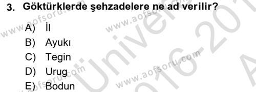 Orta Asya Türk Tarihi Dersi 2016 - 2017 Yılı Ara Sınavı 3. Soru