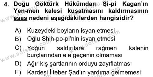 Orta Asya Türk Tarihi Dersi 2017 - 2018 Yılı Ara Sınavı 4. Soru