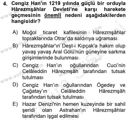 Orta Asya Türk Tarihi Dersi 2017 - 2018 Yılı (Final) Dönem Sonu Sınavı 4. Soru