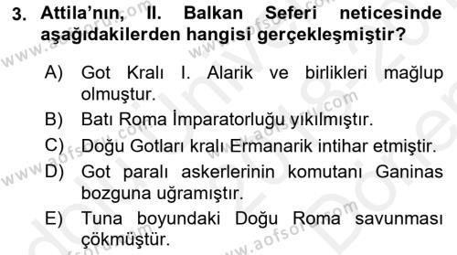 Orta Asya Türk Tarihi Dersi 2018 - 2019 Yılı (Final) Dönem Sonu Sınav Soruları 3. Soru
