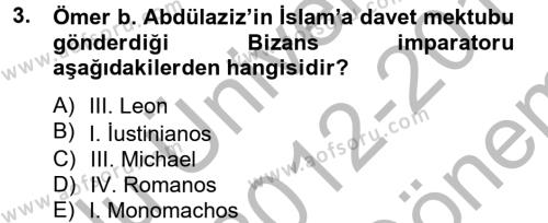 Bizans Tarihi Dersi 2012 - 2013 Yılı (Final) Dönem Sonu Sınavı 3. Soru